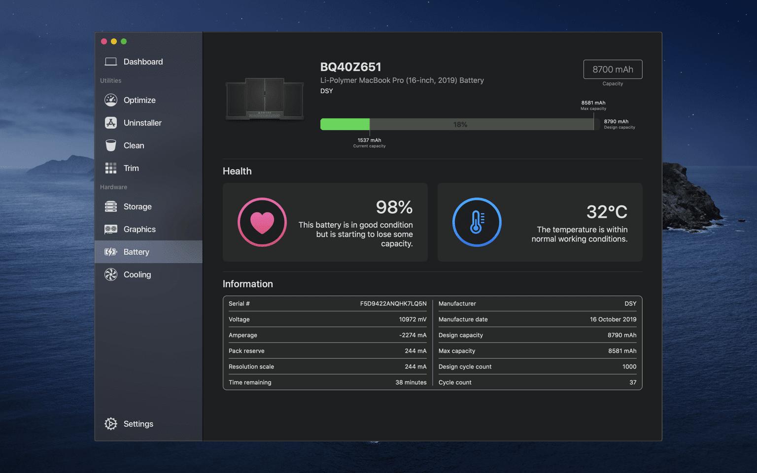 Battery Desktop Dark - Sensei vám pomôže s efektívnou správou vášho Macu