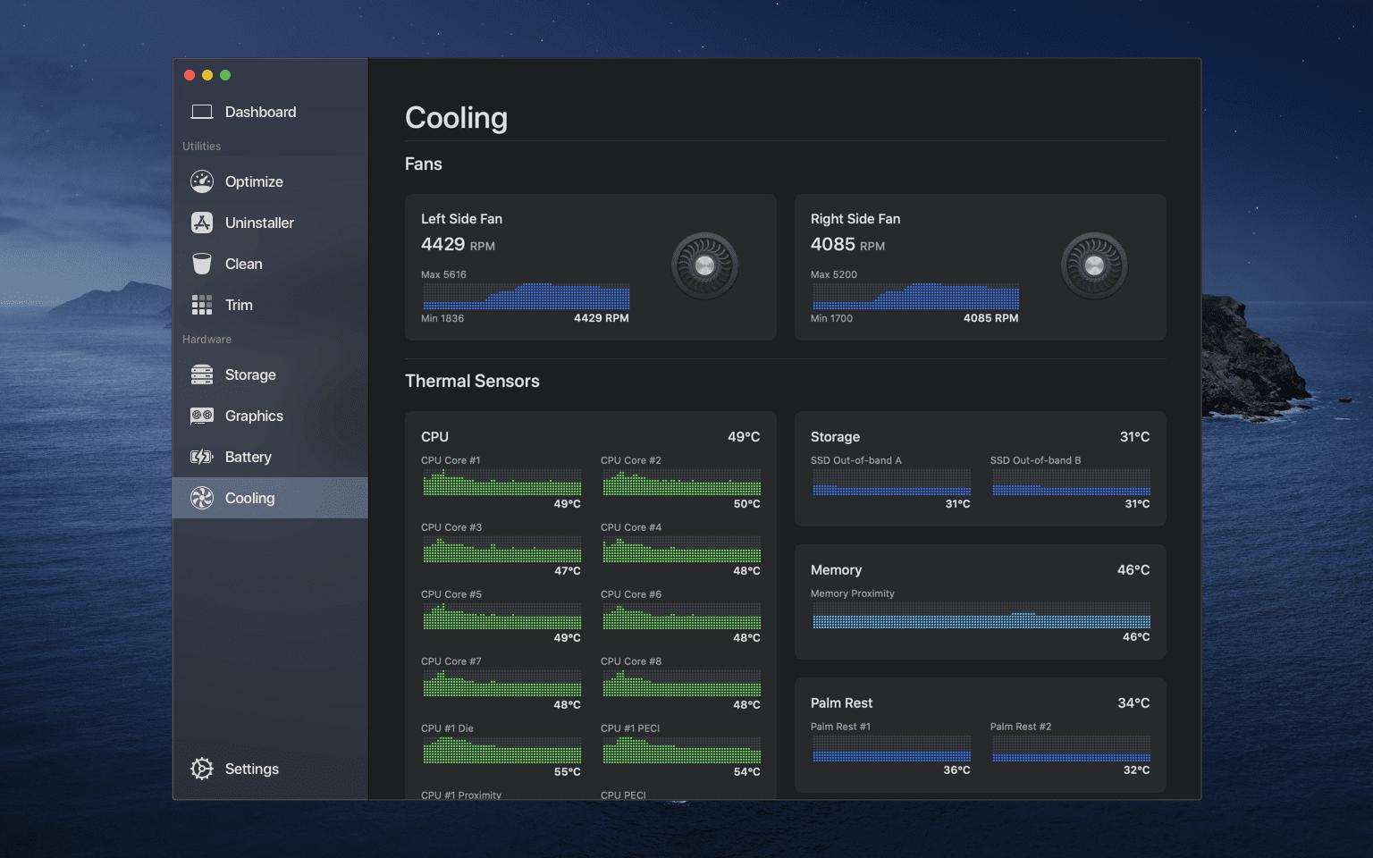 Cooling Desktop Dark - Sensei vám pomôže s efektívnou správou vášho Macu