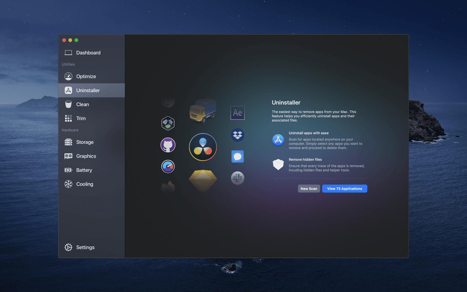 Uninstaller Intro Desktop Dark - Sensei vám pomôže s efektívnou správou vášho Macu