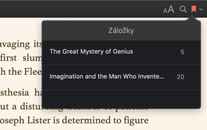 Apple Books zalozky
