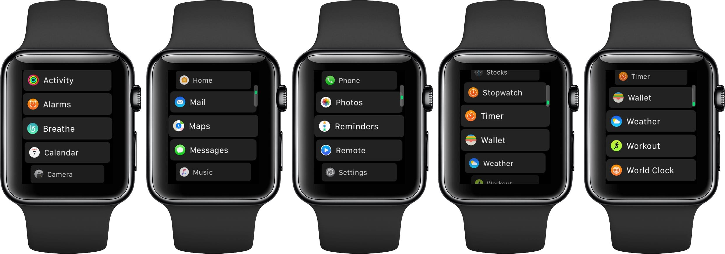 watchOS 4 Home Screen List View