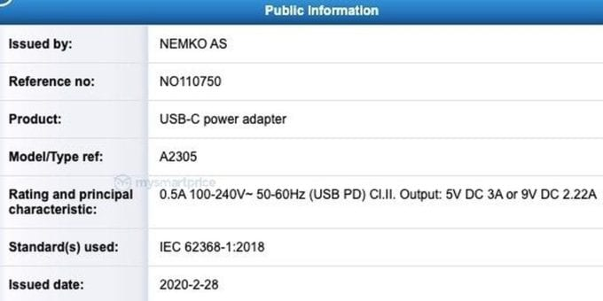A2305 20W Adapter NEMKO