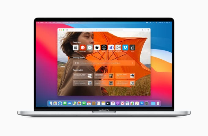 macOS Big Sur Safari Domovska obrazovka