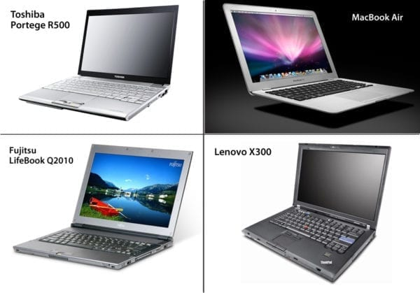 mb air portege lifebook lenovo comparison 600x419 - Apple MacBook Air vs. Toshiba Portege R500 vs. Fujitsu LifeBook Q2010 vs. Lenovo X300