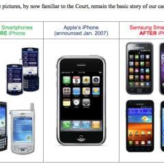 samsung phones before and after iphones 240x240 - V súdnom spore Apple vs. Samsung sa na stranu Samsungu pridávajú aj ďalší konkurenti, prečo asi?