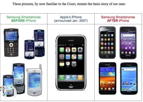 samsung phones before and after iphones 600x428 - V súdnom spore Apple vs. Samsung sa na stranu Samsungu pridávajú aj ďalší konkurenti, prečo asi?