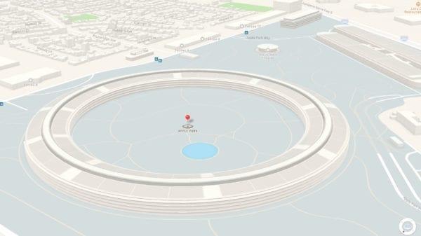 apple park maps 3d 600x337 - Jaký má dopad stavba Apple Parku na okolní pozemky? Změnily se i ceny, nebo i něco jiného?