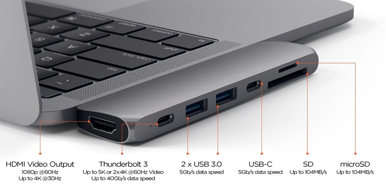 pro hub ports list sg 1 - Satechi predstavil nový Thunderbolt 3 hub pre MacBook Pro