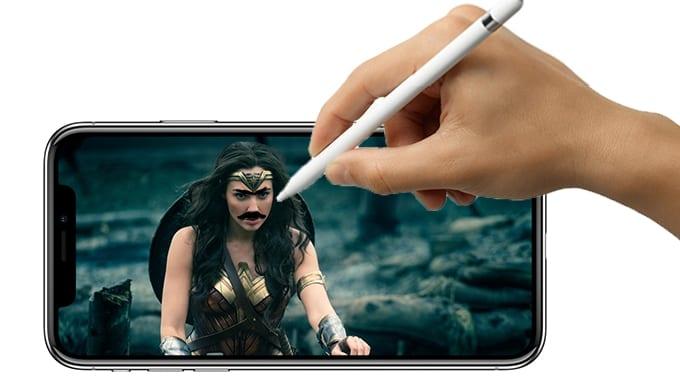 apple pencil iphone x wonder woman - Budúci rok prejdú všetky iPhony na Face ID, v roku 2019 by mohla prísť podpora pre Apple Pencil