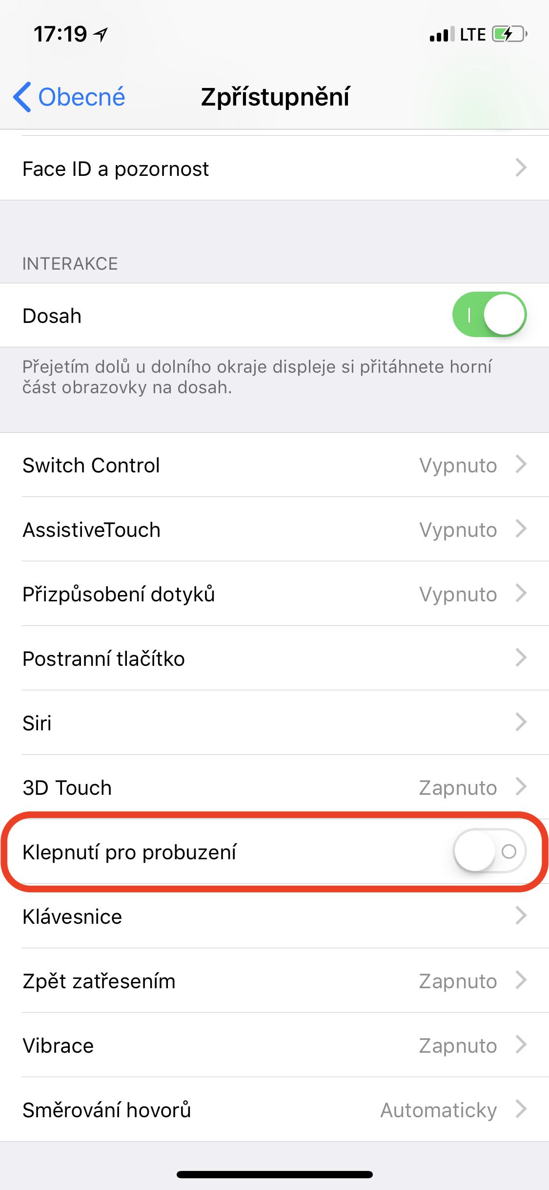 """4 - Jak na iPhonu X vypnout funkci """"Klepnutí pro probuzení""""?"""