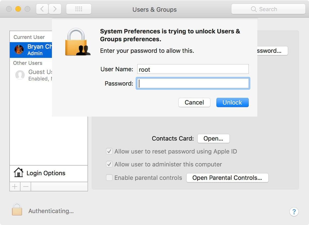 macos high sierra system preferences users groups root 1200x875 - Apple opravil nebezpečnú bezpečnostnú chybu v macOS High Sierra 10.13.1