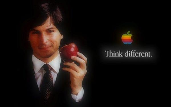 wallpaper steve jobs con mela in mano retro 600x375 - Z garáže do každej ruky: História Apple (1. časť)
