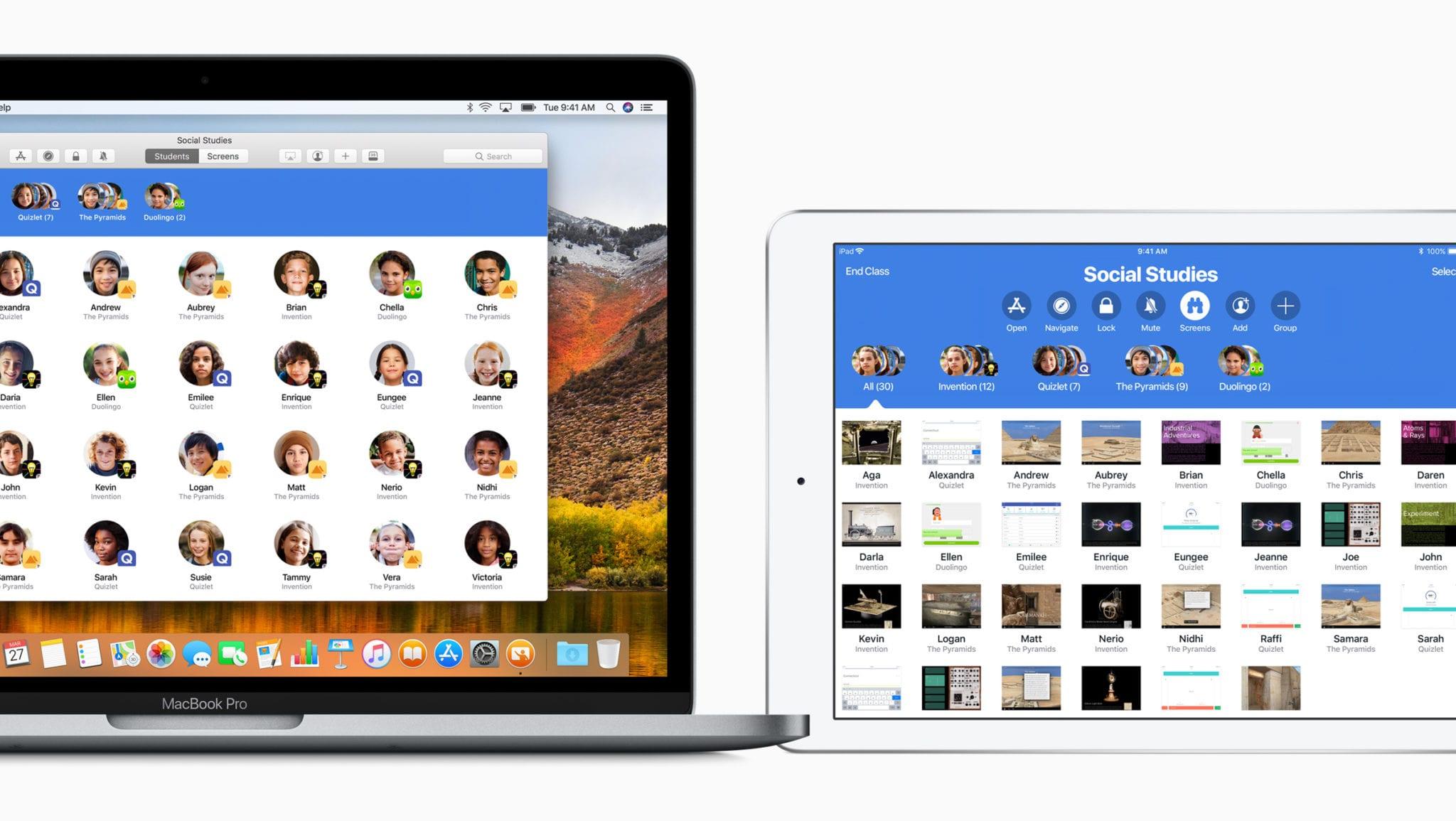 Macbook iPad Classroom screen 03272018 - Apple predstavil nový softvér pre školstvo – Classroom a Schoolwork