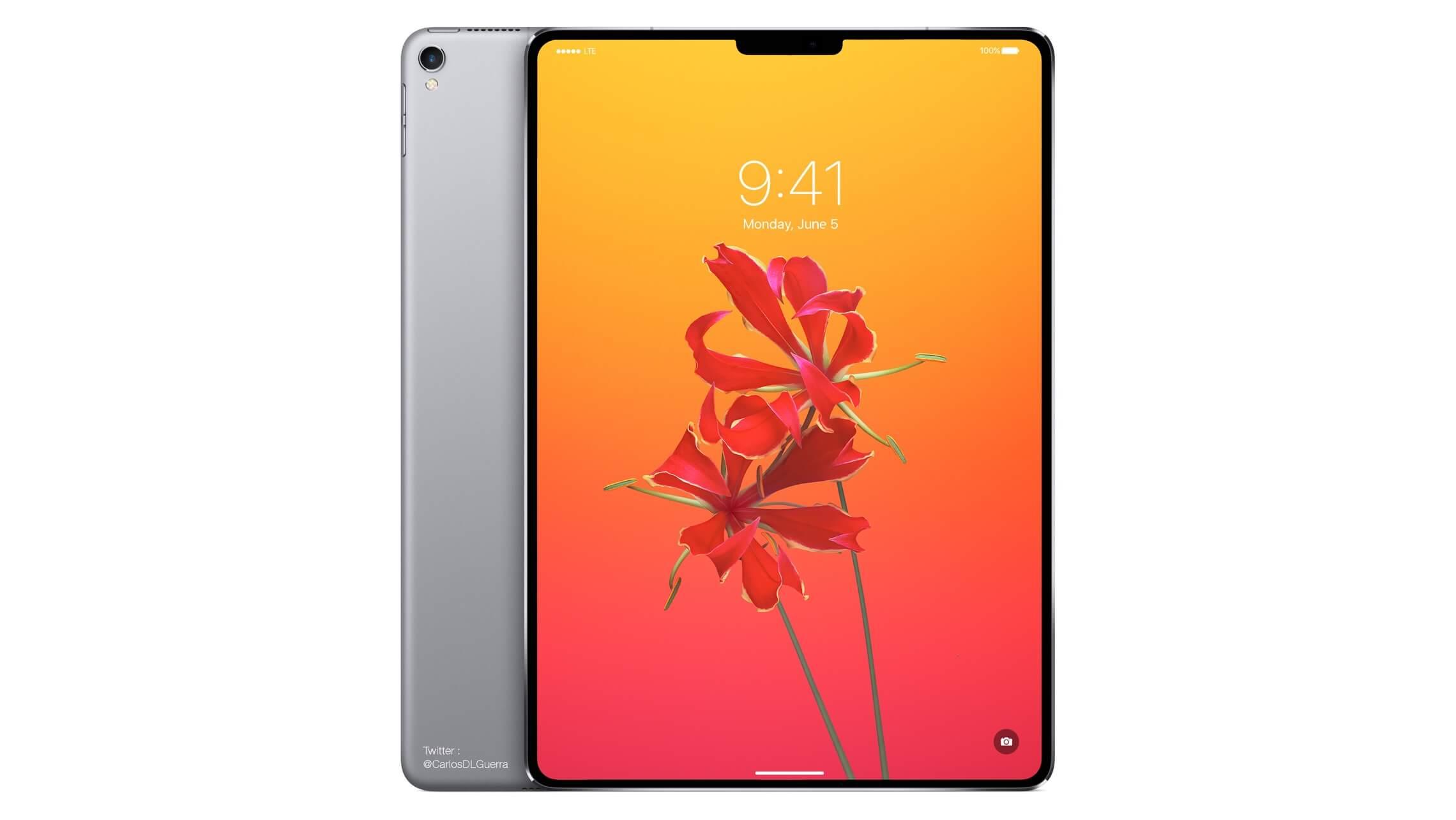 ipad pro face id notch concept - 11-palcový iPad Pro s Face ID možno už na WWDC, iPhony až neskôr