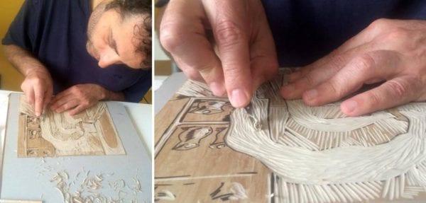 01 Ushev creating linocuts 600x287 - Na Fest Anču príde oscarový režisér Theodore Ushev