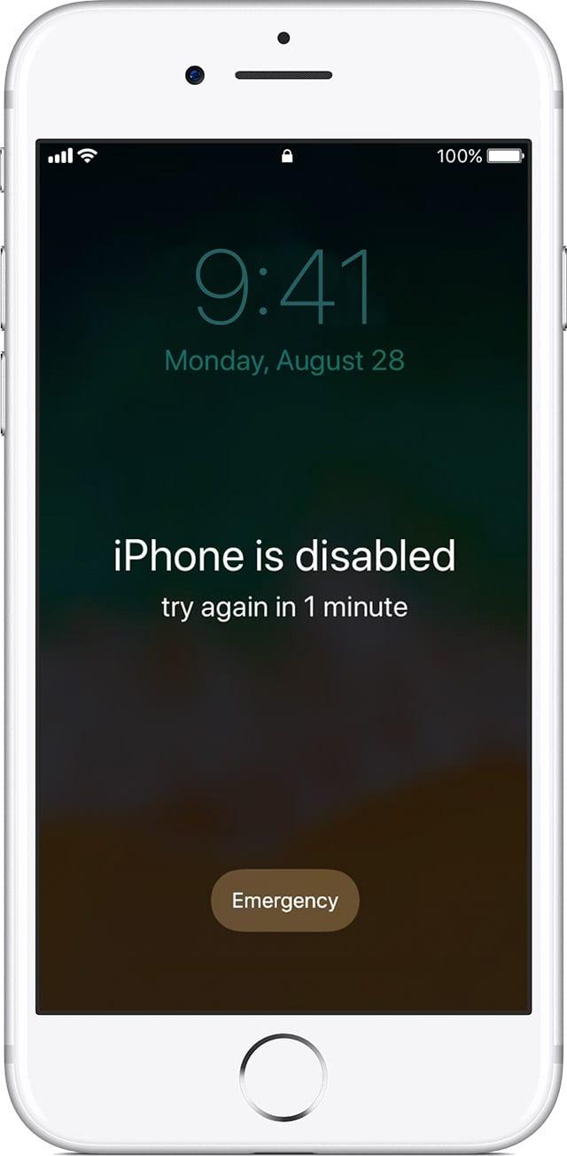 iOS zariadenie iphone is disabled