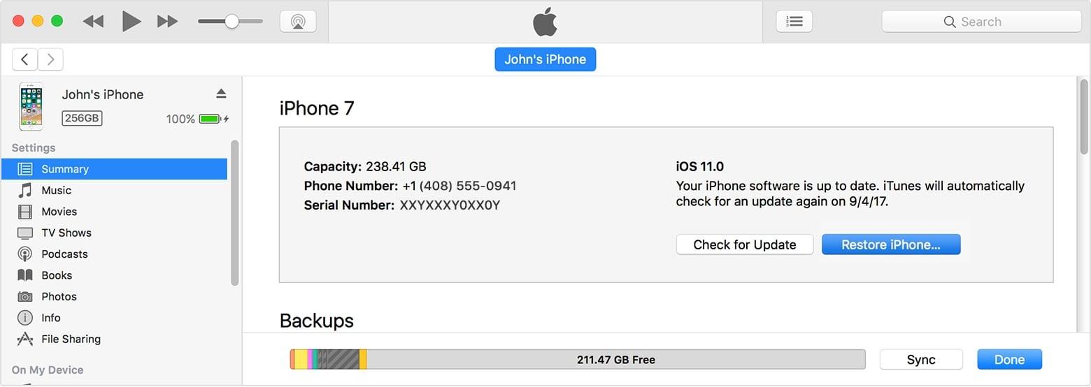 macos itunes 12 7 summary restore iphone on hover - Čo robiť, ak zabudnete heslo vášho iOS zariadenia?