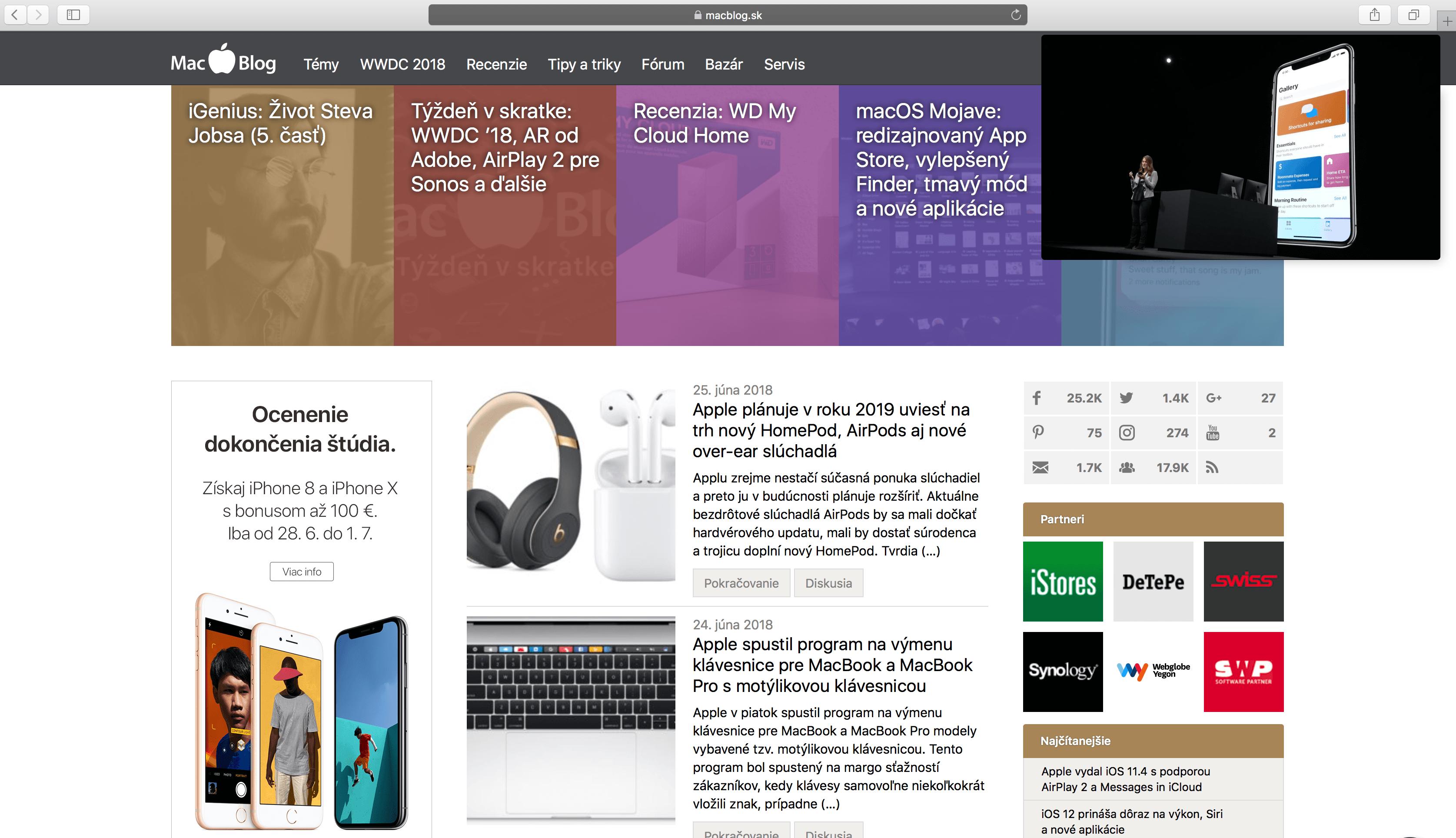 """Snímka obrazovky 2018 06 25 o 19.29.55 - Ako na Macu používať mód """"Obraz v obraze"""""""