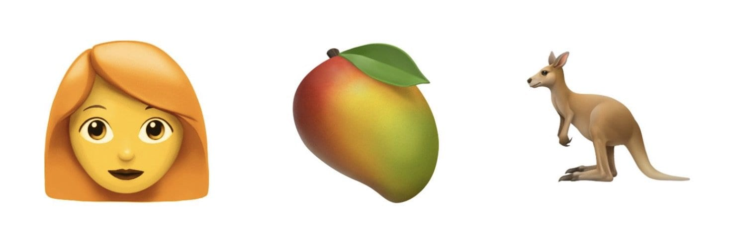 apple redhead mango kangaroo emojipedia - Nové emoji pre rok 2019: vodiaci pes, hluchá osoba a viac párov