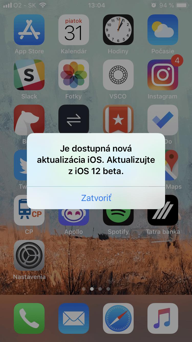 ios12 beta popup - Najnovšia beta iOS 12 otravuje s falošnými hláškami o aktualizácii