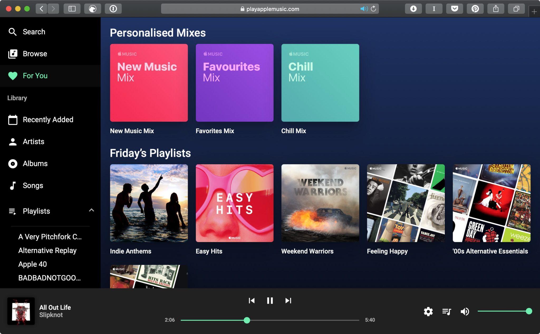 Snímka obrazovky 2018 12 14 o 17.31.08 - Apple Music má teraz webový prehrávač, zatiaľ len neoficiálny