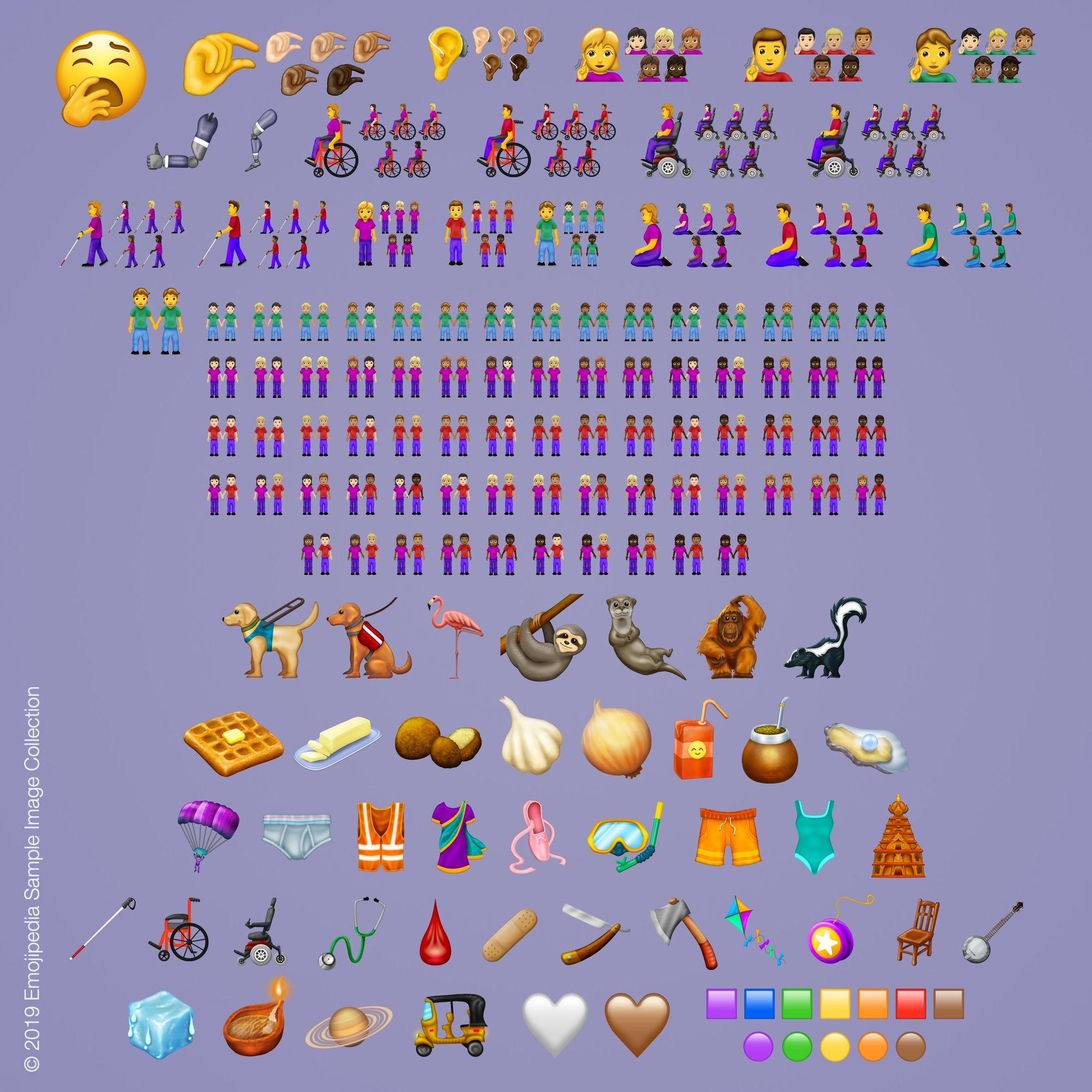 230 new emojis emojipedia sample images 2019 emoji 12 - Nové emoji v roku 2019: zívanie, wafle, cesnak, leňochod a ďalšie