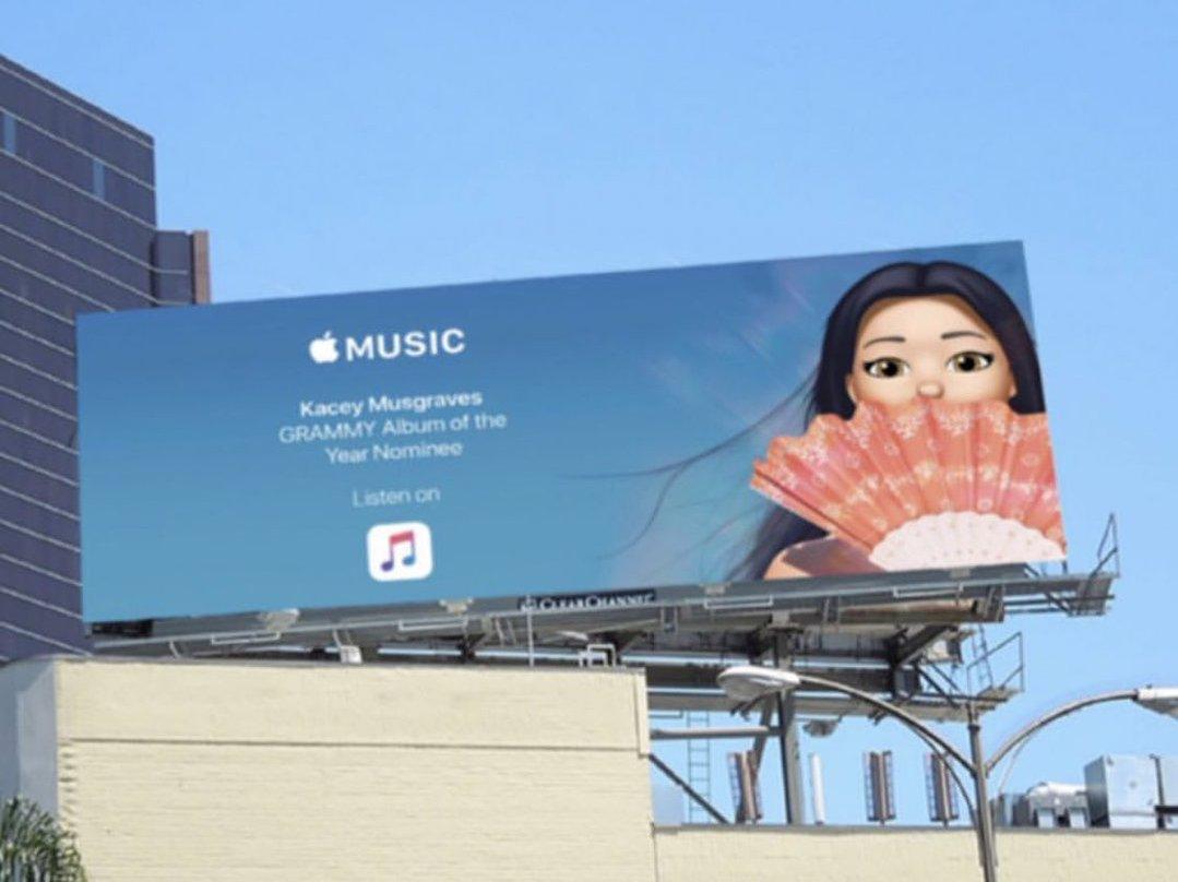 apple music grammy 2019 kacey - Apple propaguje Grammy pomocou kreslených Memoji billboardov