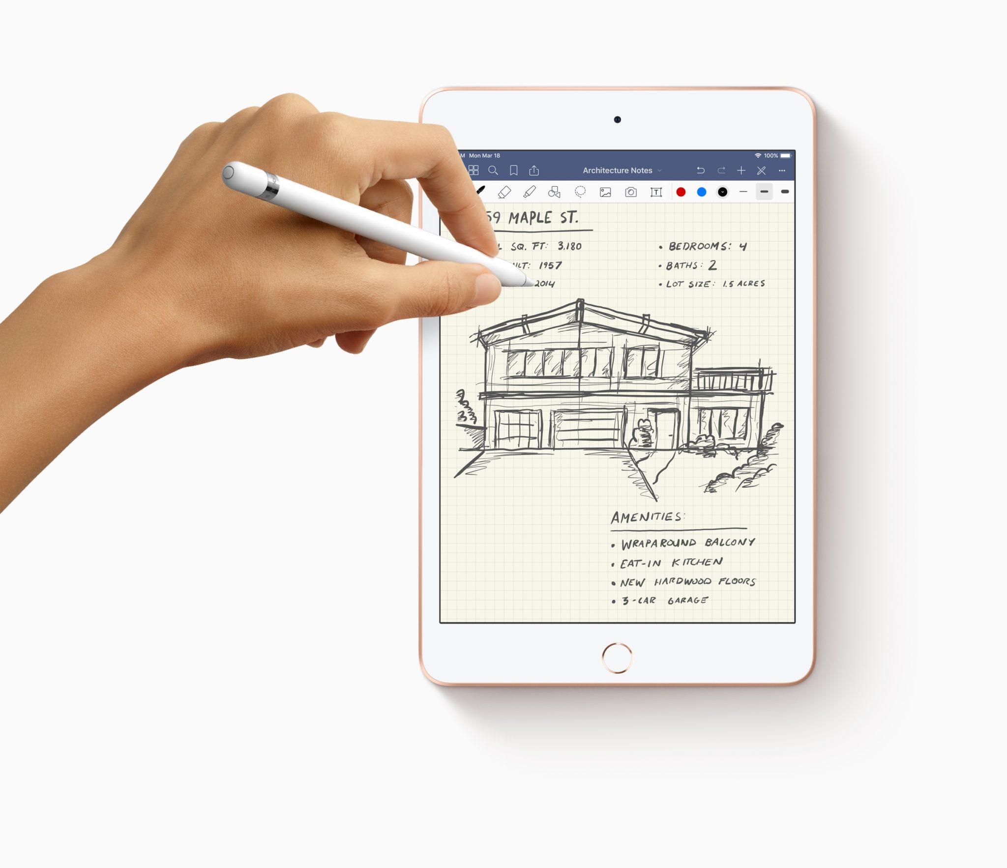 New iPad Mini Apple Pencil with hands drawing 03162019 - iPad mini ožíva, aj s podporou pre Apple Pencil a rýchlym A12 čipom