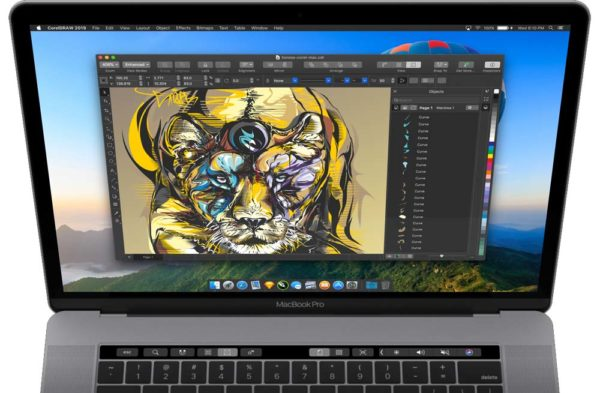 included touchbar 2019 600x393 - CorelDRAW sa po takmer dvadsiatich rokoch vracia na Mac