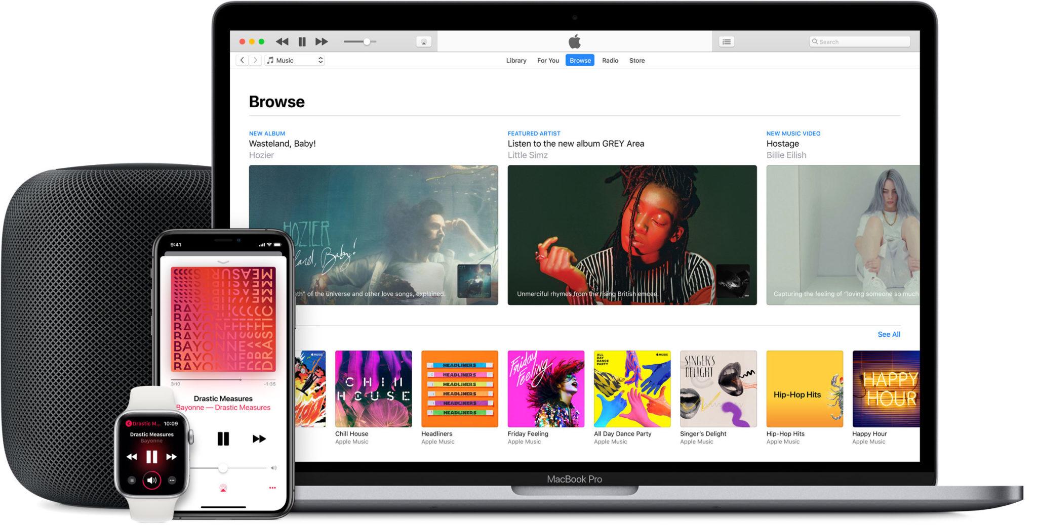 apple music hero large devices macbook iphone watch homepod - macOS 10.15 rozdelí iTunes na samostatné aplikácie – hudbu, podcasty a filmy