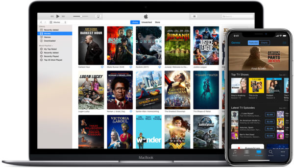 macos mojave ios12 macbook iphone x itunes store movies 600x343 - Apple vydal macOS Mojave 10.14.5 s podporou pre AirPlay 2, nový softvér pre HomePod