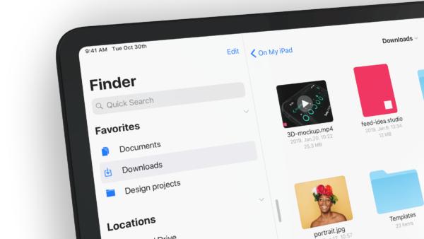 finder ios13 concept daniel korpai1 600x338 - Koncept: Finder na iPade a tmavý mód v iOS 13