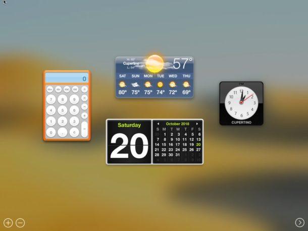 dashboard in macos mojave 610x458 - Dashboard už v macOS Catalina nenájdete
