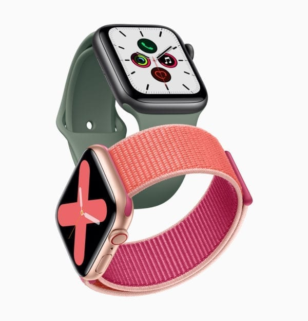 Apple watch series 5 gold aluminum case pomegranate band and space gray aluminum case pine green band 091019 600x624 - Displej v nových Apple Watch Series 5 sa už nebude vypínať